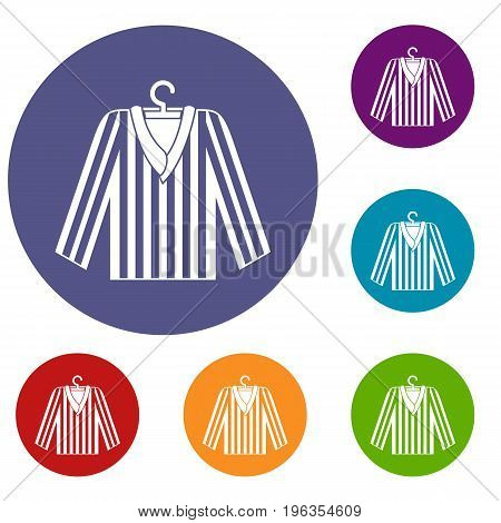 Striped pajama shirt icons set in flat circle red, blue and green color for web