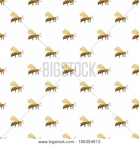 Bee pattern seamless repeat in cartoon style vector illustration