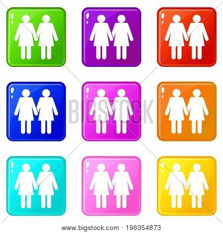 Two girls lesbians icons of 9 color set isolated vector illustration