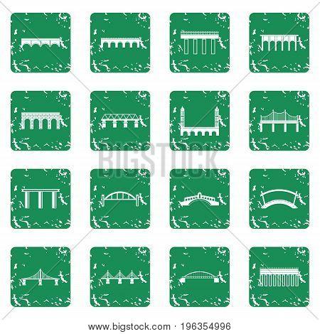 Bridge set in grunge style green isolated vector illustration