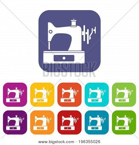Sewing machine icons set vector illustration in flat style in colors red, blue, green, and other
