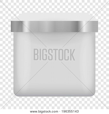 Blank container square shape mockup. Realistic illustration of blank container square shape vector mockup for web