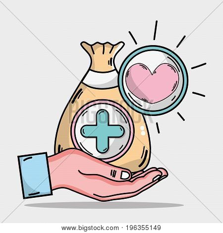 hand with bag dotation with heart and cross symbol vector illustration