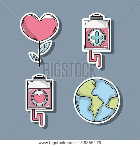 set blood donation symbol to help the people vector illustration