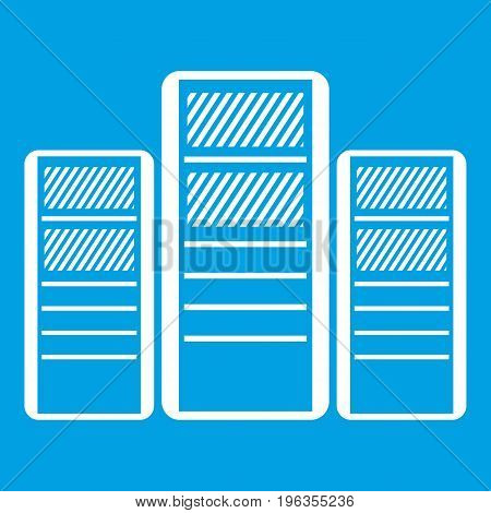 Database servers icon white isolated on blue background vector illustration