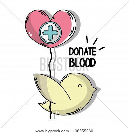 dove with heart balloon with cross clinical symbol vector illustration