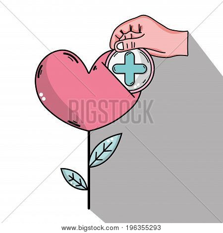 heart plant with leaves and cross clinical symbol vector illustration