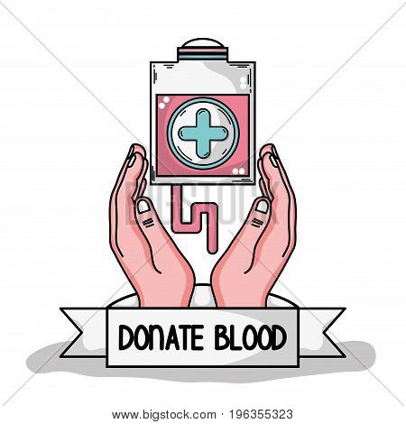 hands with transfusion tool with cross symbol vector illustration