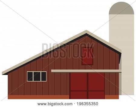 A large barn for a farm with a silo tower. Vector illustration.