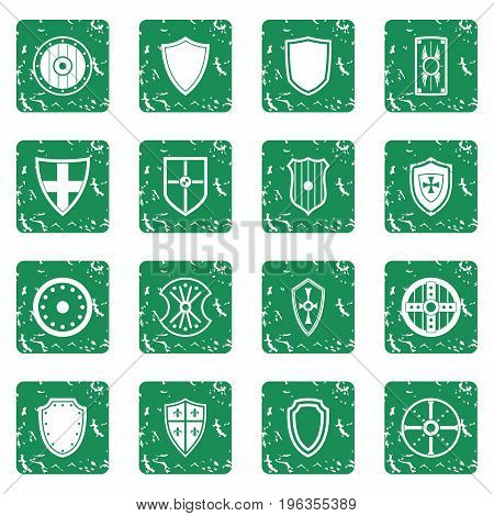 Shield frames icons set in grunge style green isolated vector illustration