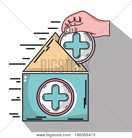 house blood dotaion with cross symbol and hand vector illustration
