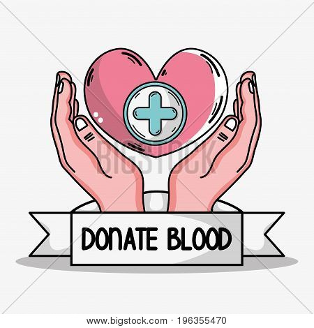 hands with heart and cross symbol icon vector illustration