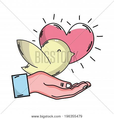 hand with dove and heart to blood donation symbol vector illustration