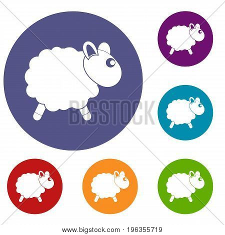 Sheep icons set in flat circle red, blue and green color for web