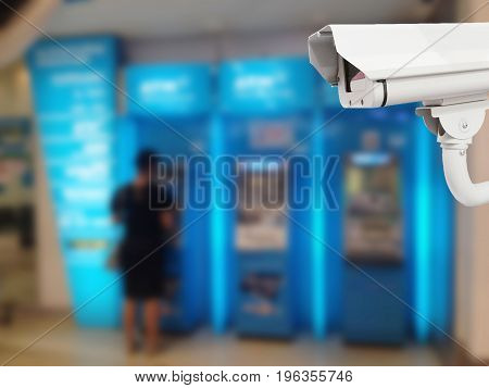 CCTV Camera Record on blur background of people in the Bank