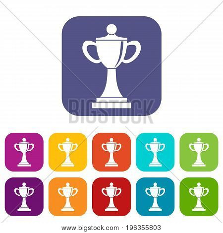 Championship cup icons set vector illustration in flat style in colors red, blue, green, and other
