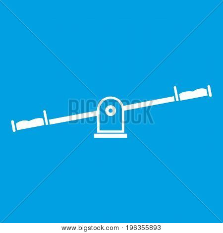 Seesaw icon white isolated on blue background vector illustration