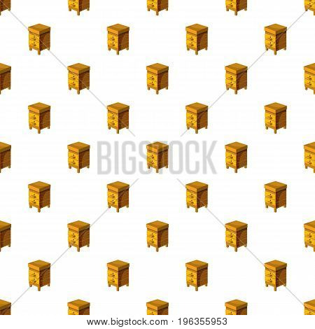 Beehive pattern seamless repeat in cartoon style vector illustration