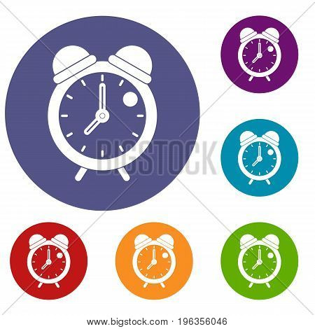 Alarm clock retro classic design icons set in flat circle red, blue and green color for web