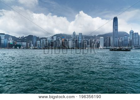 panoramic view of victoria harbor in Hong KongChina.