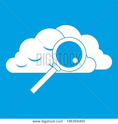 Cloud with magnifying glass icon white isolated on blue background vector illustration