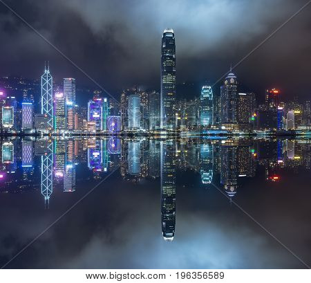 panoramic view of victoria harbor at night in Hong KongChina.