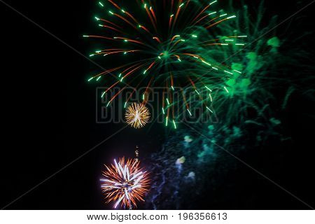 Amazing Celebration Multicolored Sparkling Fireworks. 4Th Of July Beautiful Fireworks.