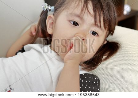 Lying Japanese Girl With Sucking Her Finger (2 Years Old)
