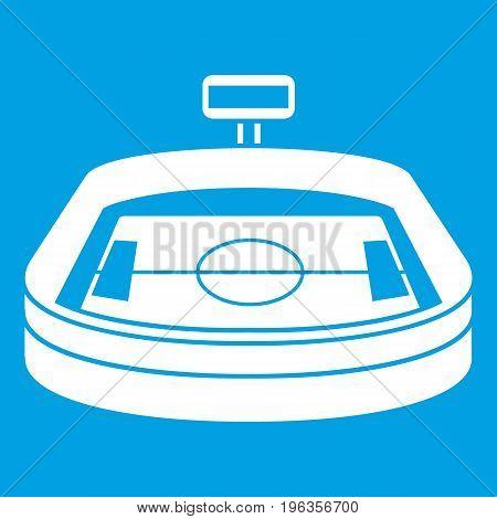 Stadium icon white isolated on blue background vector illustration