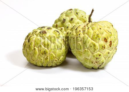 Sugar Apple (custard apple Annona) on white background