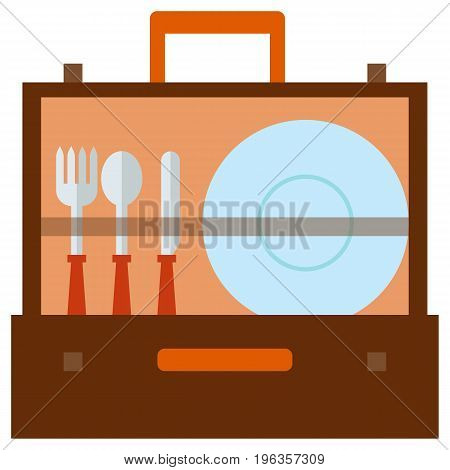 Portable picnic bag hamper flat icon, vector sign, colorful pictogram isolated on white. Picnic case with dishware and flatware symbol, logo illustration. Flat style design