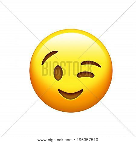 The isolated yellow smiley face and single wink icon
