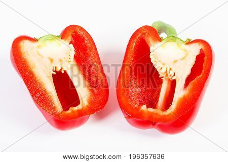 Fresh Red Peppers Lying On White Background, Healthy Nutrition Concept