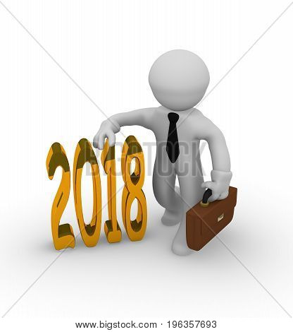 Golden 2018 with a businessman 3d rendering