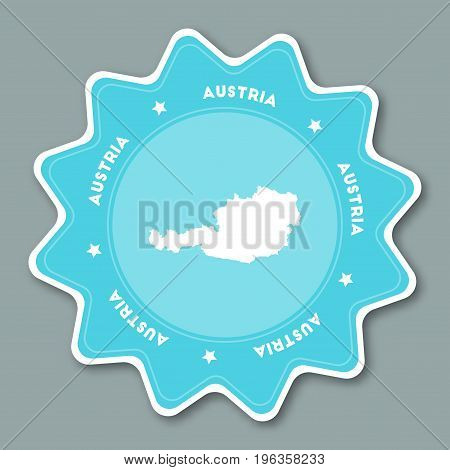 Austria Map Sticker In Trendy Colors. Star Shaped Travel Sticker With Country Name And Map. Can Be U