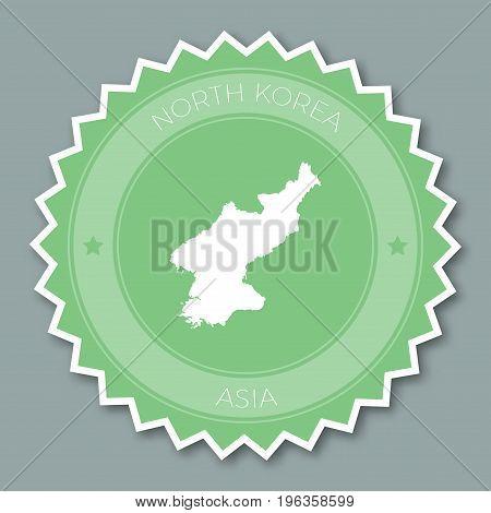 Korea, Democratic People's Republic Of Badge Flat Design. Round Flat Style Sticker Of Trendy Colors