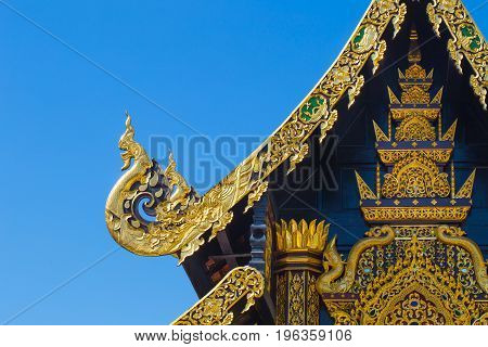 Beautiful Golden Thai Lanna Architecture: Chapel Roof Of Wat Inthakhin Sadue Muang, Chiangmai, Thail