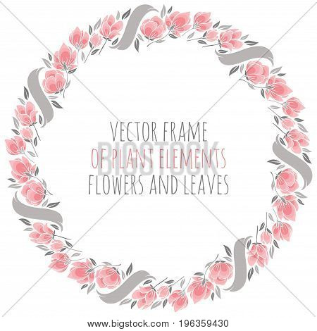 round frame wreath of delicate pink sakura cherry blossoms with ribbon - vector illustration for design
