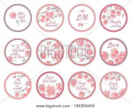 Template vector greeting labels for wedding gift for guest with cherry sakura flowers