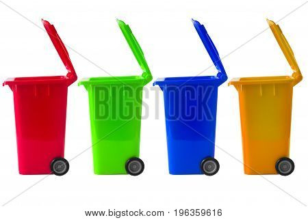 Trash Bin Mix color with recycle logo isolated on white with path.