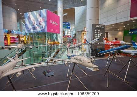 KUALA LUMPUR, MALAYSIA - CIRCA MAY, 2014: airplane models at Kuala Lumpur International Airport. KLIA is Malaysia's main international airport and one of the major airports in South East Asia.