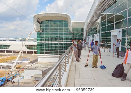KUALA LUMPUR, MALAYSIA - CIRCA MAY, 2014: workers at KLIA2 at daytime. KLIA2 is the low-cost carrier terminal at KLIA.