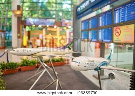 KUALA LUMPUR, MALAYSIA - CIRCA MAY, 2014: close up shot of airplane model at Kuala Lumpur International Airport.