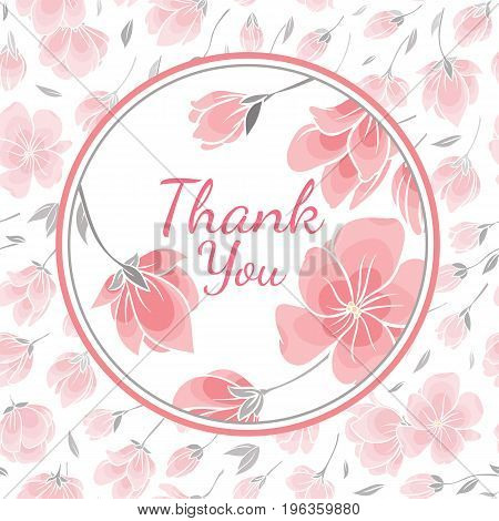Template greeting card with vector picture of the delicate flowers of sakura cherry