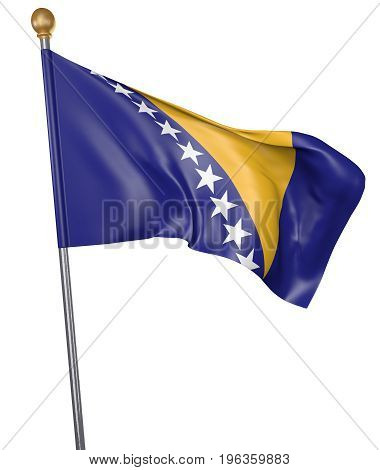 National flag for country of Bosnia and Herzegovina isolated on white background, 3D rendering