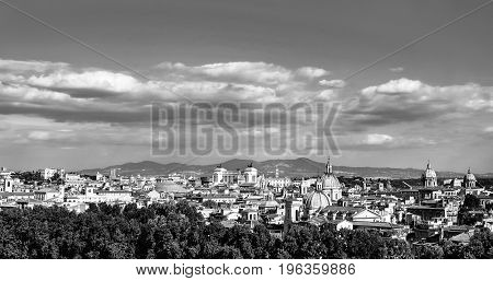 Panoramic black and white city skyline of the historic center of Rome, Italy