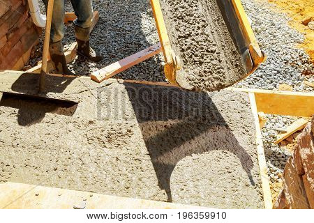 Builders Concrete Pavement Outside The House