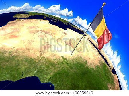 Chad national flag marking the country location on world map. 3D rendering, parts of this image furnished by NASA