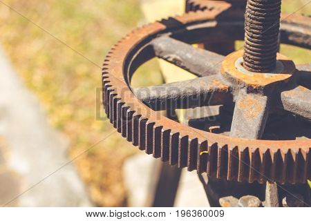 rusty gear and chain old heavy engine with rust stain