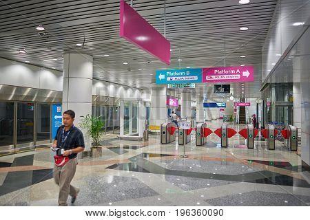 KUALA LUMPUR, MALAYSIA - CIRCA MAY, 2014: KLIA ERL Station. The KLIA ERL station is located at Level 1 of the Kuala Lumpur International Airport's Main Terminal Building.